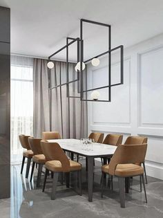 Phenomenal 12 Comfortable Minimalist Dining Room Design Idea You Should Try In addition to being used as a family dining room, the dining room is also a family gathering place. Appropriate dining room design is one that can ac. Dining Room Lighting, Dining Room Sets, Dining Room Furniture, Dining Room Table, Furniture Design, Ceiling Lighting, Room Chairs, Dining Area, Office Furniture
