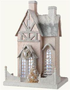 Alpine Abode Table Piece - Pink Glitter Bavarian Christmas Cottage