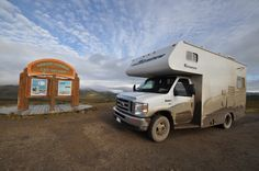 Our RV rental at the Arctic Circle, covered in mud from the Dempster Highway. What an awesome adventure!     www.northerntime.net