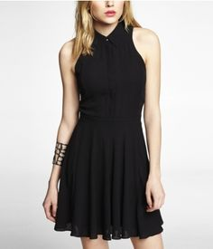 SLEEVELESS COLLARED BUTTON DOWN DRESS | Express