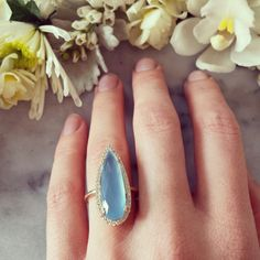 Blue chelcedony framed with sparkling white diamonds set in solid yellow gold. My favorite. Gia Certified Diamonds, White Diamonds, Petra, Yellow, Blue, Gemstone Rings, Sparkle, Engagement Rings, Jewellery