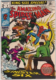 Amazing Spider-Man Special #6 VF-, Reprints from Amazing Spider-Man #8 and Annual #1 by Stan Lee and Steve Ditko; reprint from Fantastic Four Annual #1 with Jack Kirby artwork, FF guest, Iron Man, Dr. Strange, Giant Man, and the Wasp cameos, John Romita cover art. $32