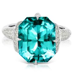 Emerald-cut Carribean Blue apatite ring This stunning Kat Florence ring is set with a 9.88 carat emerald-cut apatite of the prized Caribbean Blue variety (€10,780).