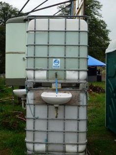 Off Grid Handwashing Station - great idea for a hand washing station by an outhouse.