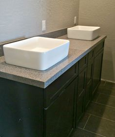 Chrome Silestone Countertop Remodel With Flat Polish Edge And Vessel Sinks  (602) 358