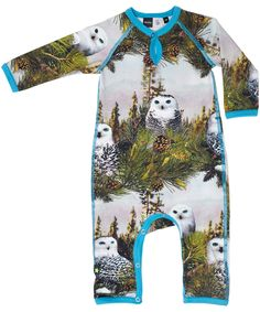 Molo great owl printed playsuit with turquoise for the little cool boys #emilea