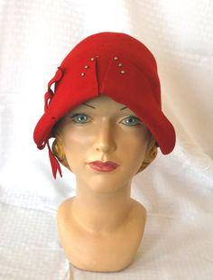 20's 30's Vintage Red Felt Flapper Cloche Hat. $34.00, via Etsy.