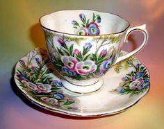 Royal Albert Fringed Gentian Tea Cup and Saucer Set