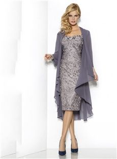107.69 newbridalup.com SUPPLIES Chic Sweetheart Knee-Length Mermaid Cap-Sleeve Lace Mother Of The Bride
