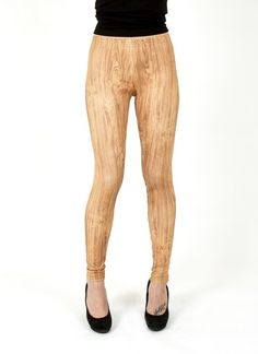 Faux Bois Woodgrain Leggings | USTrendy
