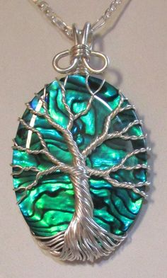 Fine Silver Blue Green Paua Shell Tree of Life, Fine Silver and Ocean Blue Paua…