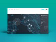 Helium Map Dashboard User Interface | Flat UI Design