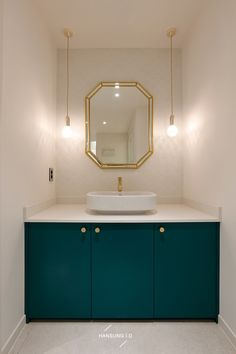 Bathroom Inspiration, Powder Room, Gold Hardware, Bathrooms, Sink, Interiors, Mirror, House, Furniture
