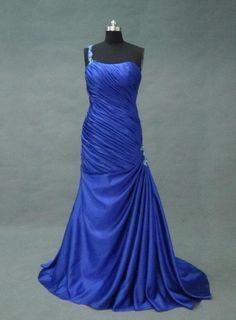 navy blue dress  long prom dress one shoulder scoop by sposadress, $129.00