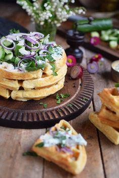 Quarkwaffeln mit Parmesan und Kraeutern - Waffles with Parmesan Cheese and ramp   Das Knusperstübchen