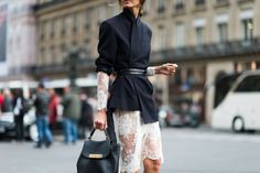 great way to make lace serious and sexy....The Best Street Style From Paris Fashion Week  - ELLE.com