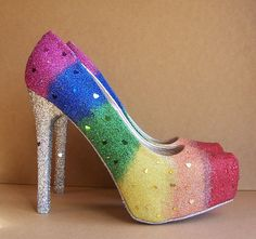 If I could wear these and not die at PRIDE, I would ;) Gay Pride Wedding High Heels. $140.00, via Etsy.
