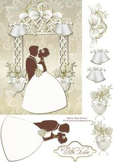 Wedding Day  on Craftsuprint designed by Marie Wolman - This is for an A5 card. Easy step by step decoupage featuring a bride and groom standing under an arch decorated with white and gold flowers. - Now available for download!