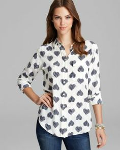 Kinda in love with this top!! Equipment Blouse - Slim Signature Heart Conversation Print  Bloomingdale's