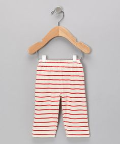Neutral White & Red Stripe Organic Pants - Infant by SoftBaby