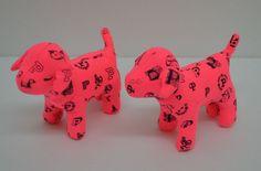 "Victoria's Secret Pink Dog Plush Bright Pink Black Logo Stuffed Mini Lot 2 4"" #VictoriasSecret http://stores.ebay.com/Lost-Loves-Toy-Chest?_dmd=2&_nkw=victorias+secret"
