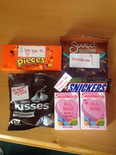 Candy for his valentines care package! #candy #valentinesday #carepackage #LDR #candybarsayings I love you to PIECES (reese's pieces) You make me SMILE (sweet smiles-chocolate covered almonds) I love when you make me SNICKER (snickers) For when you need a KISS (hersey's kisses) ALL MINE forever and always (sweethearts) You are.. ALL MINE (sweethearts)