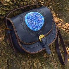 Celtic leather bag batik insert folk ornament  #celtic #leather #leatherbag #crossbody #batik #casualbag