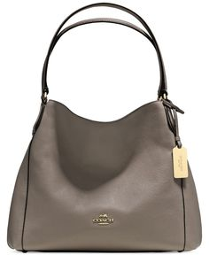 COACH EDIE SHOULDER BAG 31 IN REFINED PEBBLE LEATHER, LOVE THE TAN/GOLD, saw it at our Outlet Mall. I get it now Ann Sharp!