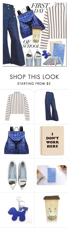 """""""School day"""" by mada-malureanu ❤ liked on Polyvore featuring Maje, Moschino, Bao Bao by Issey Miyake, ban.do, Chiara Ferragni, BackToSchool, school, jeans and falltrend"""