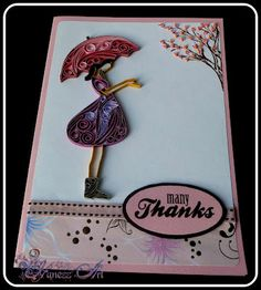 Young Girl with Umbrella-Quilled Card by-  Nisa Rashid