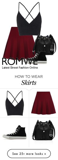 """Elastic Waist Flare Maroon Skirt"" by alltimelow-123 on Polyvore featuring Topshop, MICHAEL Michael Kors, Converse, women's clothing, women's fashion, women, female, woman, misses and juniors"