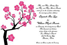 5x7 Wedding Invitation  Cherry Blossom 100ct by True2YouInvites