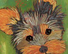 Yorkie agotamiento en el pasillo, arte humorístico yorkie, yorkshire terrier regalos