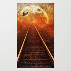Railway to the moon Area & Throw Rug by Pirmin Nohr - $28.00 Mysterious, mystical, fullmoon, bird, tracks, rail, raptor, softened, fantasy