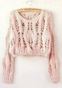 """Diy Crafts - soywoolly-cicamejra: """" Pink Hollow-out Collarless Wrap Short Synthetic Fiber Pullover """" Summer Knitting, Hand Knitting, Knitting Patterns, Knitting Projects, Crochet Patterns, Knitwear Fashion, Knit Fashion, Cropped Sweater, Pullover Sweaters"""