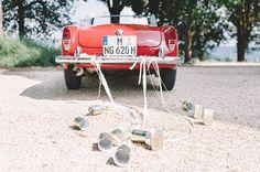 Red Alpha Romeo Wedding Getaway Car - Snippet & Ink