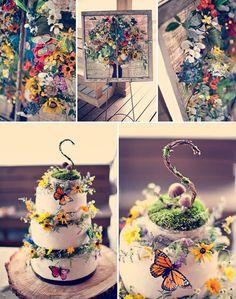 Boho chic cottage outdoor summer wedding flowers cake ideas