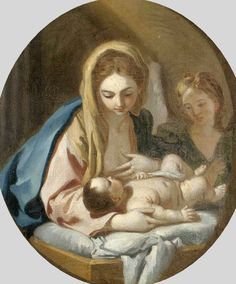Circle of Francesco De Mura (1696-1782) — Madonna and Child with  an Angel  (729x880)