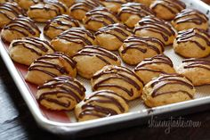 Pumpkin Spice Cookies with Chocolate Glaze - Low-fat pumpkin spice cookies have a cake ball quality to them, drizzled with chocolate they are seriously good! #pumpkin