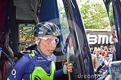 The La Vuelta España winner and Tour De France runner up leaves the team coach during the Vuelta a la Comunidad Valenciana cycle race.