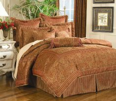 """Portofino 4 Pcs Full Comforter Set by Soft Home Shop. $169.00. Dimensions: Comforter (80""""x 90"""") Bedskirt (54""""x75""""x15"""" drop) Pillow sham (20""""x26""""). Size: Full size. Includes: 1 Comforter, 1 bedskirt, 2 pillow shams.. Content: Comforter: face 100% polyester, Back 100% cotton, Filling 100% polyester. Color: Mixed, Deep Red with Gold. Traditional, playful red glows from within this seasonal display of earthly enjoyment and a light touch of soft"""