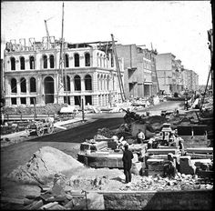 Chicago rebuilding after Great Fire which ended Oct. 10th, Lake & LaSalle Streets