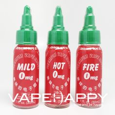 SRIRACHAVAPECO EJUICE///VAPEHAPPY is proud to offer SRIRACHA VAPE CO EJUICE! Love the bottles right? Don't worry this isn't Sriracha flavored eliquid!     FLAVOR PROFILES:     To provide a more enjoyable vaping experience, our flavors are organized in a progressive approach. As intensities increase from Mild on to Hot and Fire, increasing will also be our flavor profiles.     MILD: A simple and light apple cider, perfect for the all day vape.     HOT: A nice rounded vanilla bean cream yogurt…