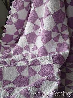 Fantastic! Vintage 30s Lavender & White QUILT Sawtooth Border Fine Quilting