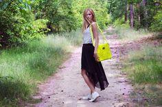 Shop this look on Kaleidoscope (tank, skirt, bag, sneakers)  http://kalei.do/WA5uwJ6V286sJ588