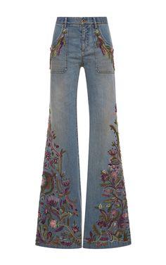 Embellished Light Wash Jeans by ROBERTO CAVALLI for Preorder on Moda Operandi