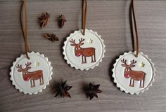 Ceramic Christmas Deer Ornaments Rudolf Holiday by Ceraminic