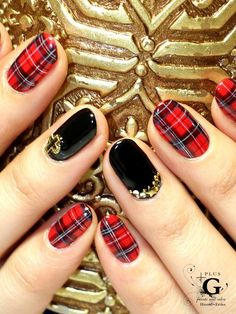 These gorgeous tartan nails would be perfect paired with our Abril Tartan Swing Dress! Available here - www.girlinmind.com/sale/abril-red