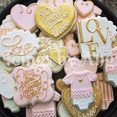 Cookies were made to match the nursery decor. #cookies #baby #babygirl #pink #gold #decoratedcookies #customcookies #babyshower #icingsbyang #love