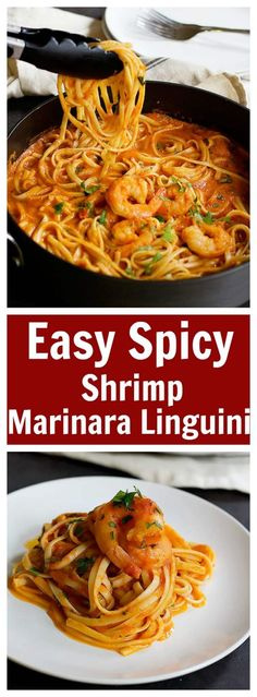 Seafood Marinara Recipe, Shrimp Marinara, Spicy Shrimp Pasta, Seafood Pasta, Seafood Dishes, Pasta Dishes, Shrimp Linguine, Shrimp Meals, Shrimp Spaghetti